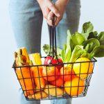 Organic food in a shopping basket
