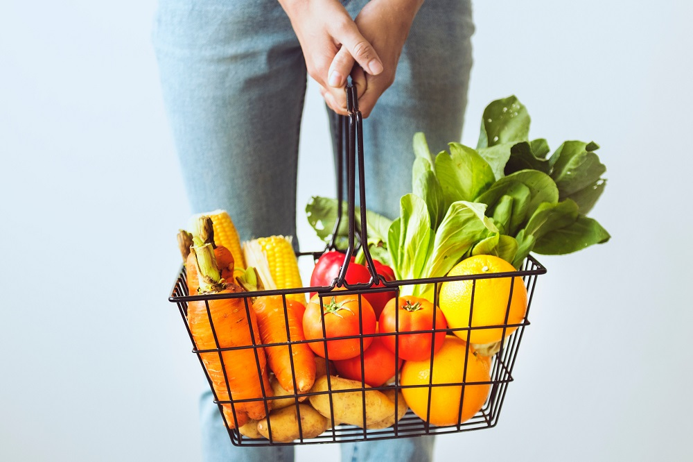 Organic food in a shopping basket