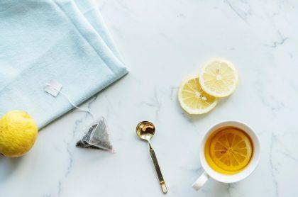 Lemon tea, teabag and spoon