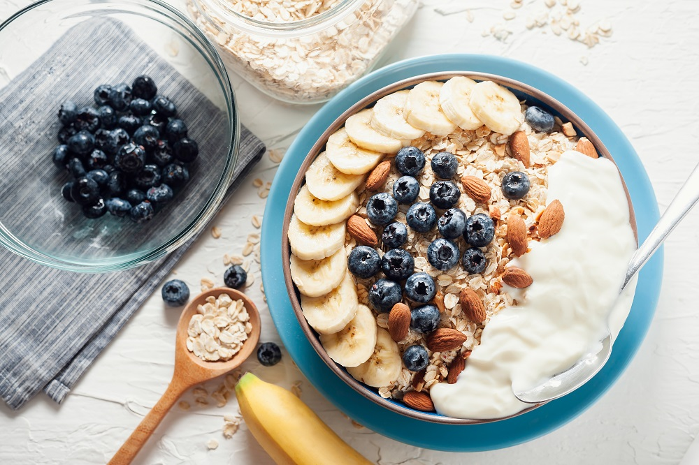 Greek yogurt with almonds and blueberries