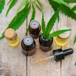 CBD oil in tincture bottles on wooden background