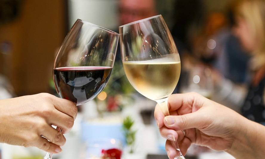 Glasses of wine at a party