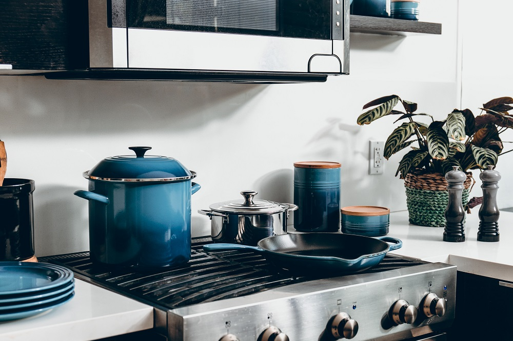 Pots and pans in a kitchen